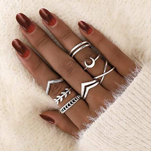 Aukmla Boho Knuckle Rings Set Silver Moon Stackable Finger Rings Midi Size Joint Knuckle Ring Sets for Women and Girls 7PCS