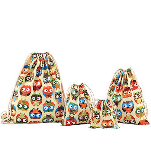 abaría Amoyie - Bolsas de Tela 4 Piezas, Mochila de Cuerda + 3 Bolsos del almacenaje Organizador para Maleta, Lindo búho