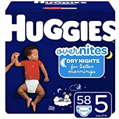 Huggies Overnites nighttime diapers size 5 fit babies 27+ lb. (12+ kg) Our Most Absorbent Diaper – Help your child get a full night's sleep with extra absorbency & Double Leak Guards that offer up to 12 hours of protection DryTouch Liner – Soft, dura...
