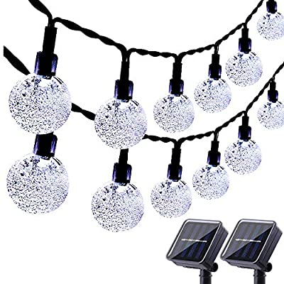Lyhope Solar String Lights, 20ft 30 LED Crystal Ball Waterproof Solar Powered Globe Lights for Garden Patio Holiday Party Outdoor Decorations (Cool White,2 Pack)