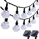 Lyhope Solar Outdoor String Lights, 20ft 30 LED Crystal Ball Waterproof Solar Powered