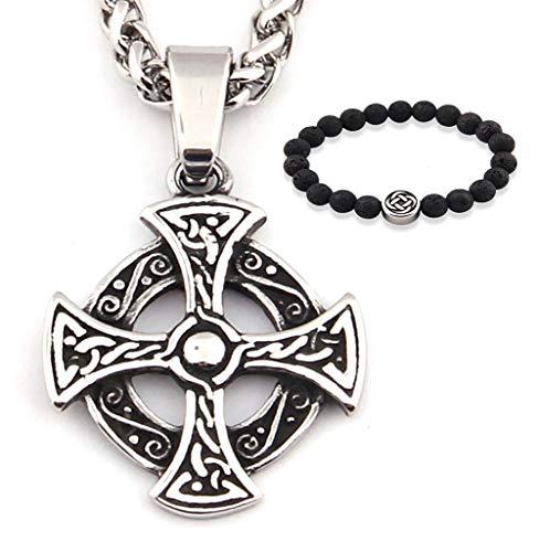 GUNGNEER Trinity Celtic Cross Knot Pendant Necklace Keel Chain Eternal Love Stainless Steel Irish Jewelry Men Women