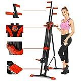Aceshin Vertical Climber Machine, Home Gym Exercise Folding Climbing Machine,Indoor Vertical Climbing Exercise Machine, Fitness Stepper for Whole Body Cardio Workout Training (Red)
