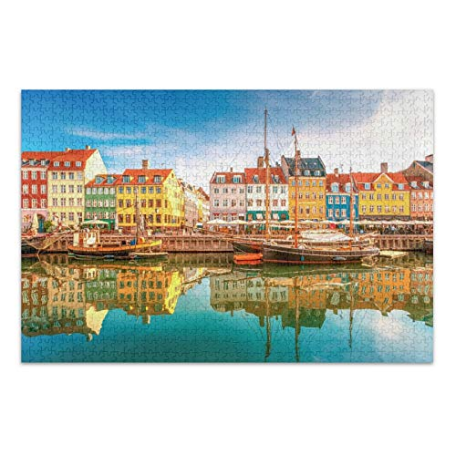 Qilmy Puzzle 500 Piece Jigsaw Puzzles DIY Adult Kids Kopenhagen Nyhavn Puzzles, Hand Made Puzzles Personalized Gift, Fun Intellectual Decompressing Educational Games,Upgraded Version