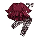 Fashion Toddler Baby Girl Outfits Ruffled Long Sleeve Dress Tunic Tops+Leopard Legging Pants+Headband Set Spring Fall Clothes (B-Wine Red, 2-3 T)