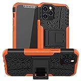 FANSONG Custodia per iPhone 12 Pro Max 6.7' 2020 con Schermo Protezione [Pesante Dovere, Cavalletto] Corpo Pieno Robusta Ibrida Duro Antiurto Vetro Temperato Cover, Arancia