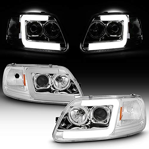 ACANII - For 1997-2003 Ford F150 97-02 Expedition Chrome LED Tube Projector...