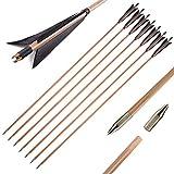 """33 Pulgadas Flechas de Bambú Flechas de Caza Tiro con Arco Práctica de Tiro con Arco Flechas de Bambú con Pluma de Pavo de 5""""para Arco Recurvo Arco Largo Tradicional 6/12pcs (Negro, 6pcs)"""