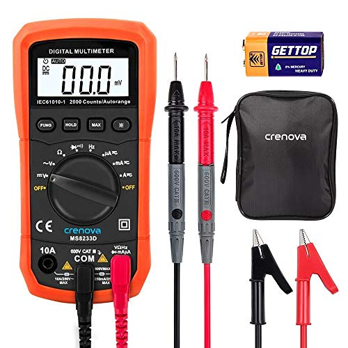 Multimètre Numérique, Crenova MS8233D Multimètre de Gamme Automatique Détecteur de tension Portable Testeur avec Rétroéclairage