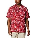 Columbia Camiseta de Manga Corta para Hombre Trollers Best Short Sleeve Shirt, Hombre, Camiseta de Manga Corta Trollers Best, 1438981, Red Spark Americana Fishing Print, M