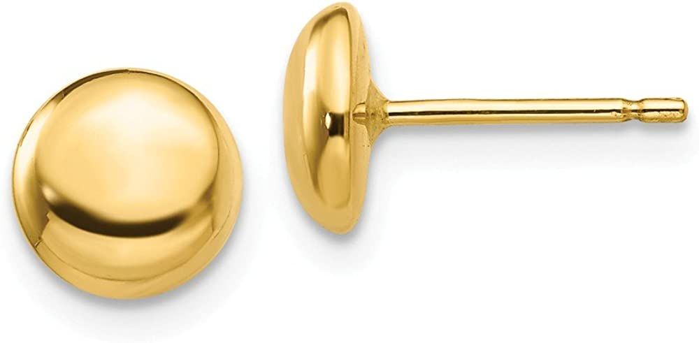 14k Yellow Gold Half Ball Post Studs Ear Earrings 7mm
