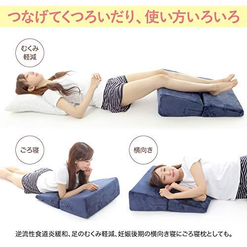 cocochi三角枕三角クッション介護逆流性食道炎なだらかクッション体圧分散斜めマット足枕分けられる枕幅50cmネイビー