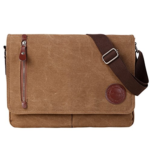 ★Material: Waterproof and scratch-resistant canvas,100% imported leather,Smooth zipper, Rustproof metal; Lining: Polyester. ★Dimension:L x W x H = 13.5× 3.1 ×11 inches,Suitable for 13.3 inches laptop or A4 documents. ★Various Pockets: Exterior: 1 zip...