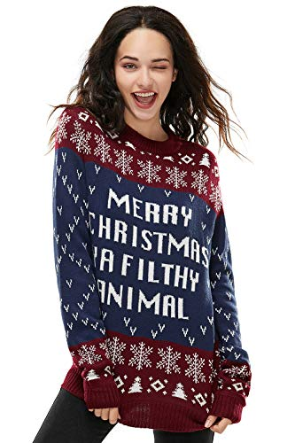 Unisex Women's Ugly Christmas Sweater Knitted Funny Fairisle Pullover Wine Red/Navy Blue, X-Large