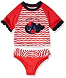 Wippette Girls' Toddler Baby Two Piece Rashguard Set with Ruffle Trim, Tomato, 3T
