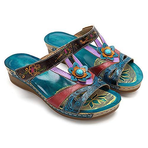 Huaheng Damen-Sandalen, modisch, ethnischer Stil, Blumensandalen, Keilabsatz, Flip-Flop, Damenschuhe, 38, Einheitsgröße