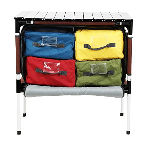 PORTAL Multifunctional Folding Camp Table Aluminum Lightweight Picnic Organizer with Large Zippered...
