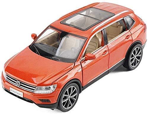 Model auto Tiguan L Model Alloy auto model, 1/32 Simulatie Car Sound and Light Pull Back Children's speelgoed auto model (Kleur: Oranje) lili (Color : Orange)