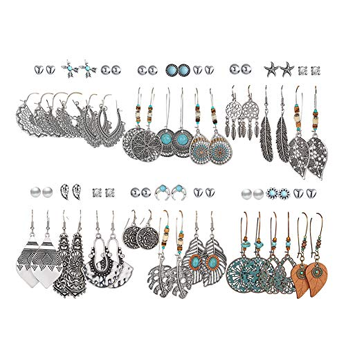 36 Pairs Fashion Drop Dangle Earrings Set for Women Girls Vintage Bronze Statement Bohemian Stud Earrings with Pearl Hollow Leaf Dreamcatcher Turquoise Inlay Jewelry for Birthday/Party/Christmas Gifts