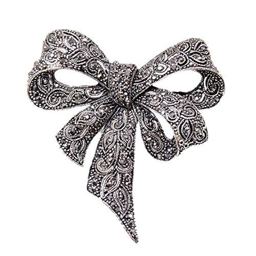 SODIAL Vintage Rhinestone Bow Broches para Mujeres Negro Bowknot Broche de Moda...