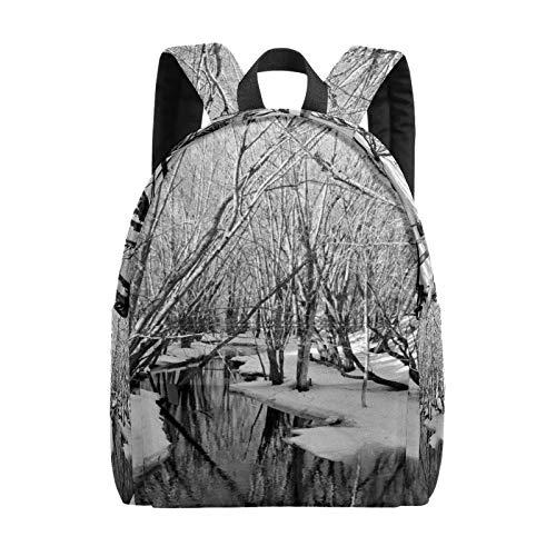 Backpack Boy Girl Daypack,Frozen River and Trees Kids Backpack School Bookbag Travel Bag Casual Rucksack Gift