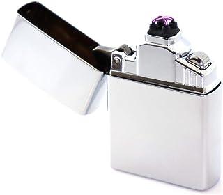 Bólido 【日本ブランド/保証付】プラズマライター 電子ライター USBライター 無炎 防風 ガス不要 オイル不要 4極点火 ダブルアーク (シルバー)