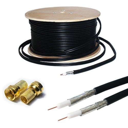 25m RG6 Twin Coaxial Cable & 4x F Connectors - Shotgun Satellite Sky + HD Freesat - Loops