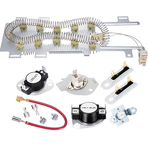 Price comparison product image 8544771 Dryer Heating Element,  279973 3392519 Thermal Fuse and 279816 Thermostat Dryer Replacement Kit Compatible with Maytag,  Kenmore and More