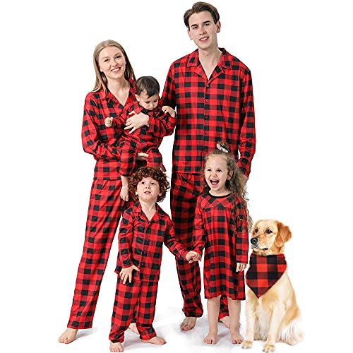 Conjunto de pijama a cuadros de Navidad Lindo Fawn manga larga felpa suéter con capucha pantalones de invierno Homewear, niña, 3-4 Años