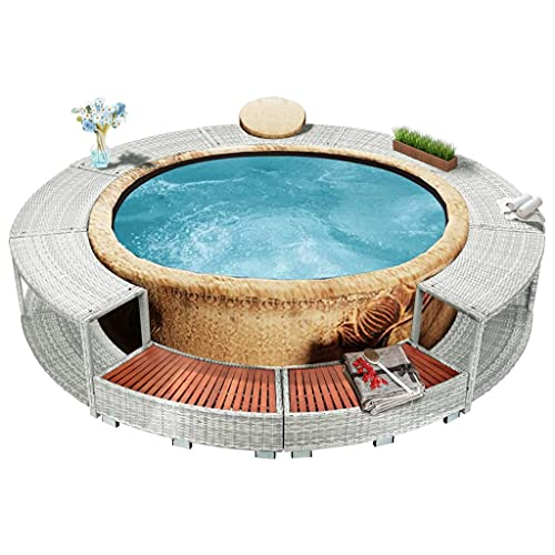 vidaXL Whirlpool Umrandung mit Stauraum Poolumrandung Poolverkleidung für Spa Hellgrau Poly Rattan Stahlrahmen Eukalyptus-Hartholz