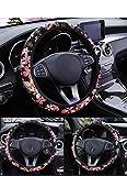 RANXIZY Handmade Japanese Sweet Sakura Cherry Blossom Steering Wheel Cover for Girls,Universal Fit Elastic Stretch on Car Accesories(Black)
