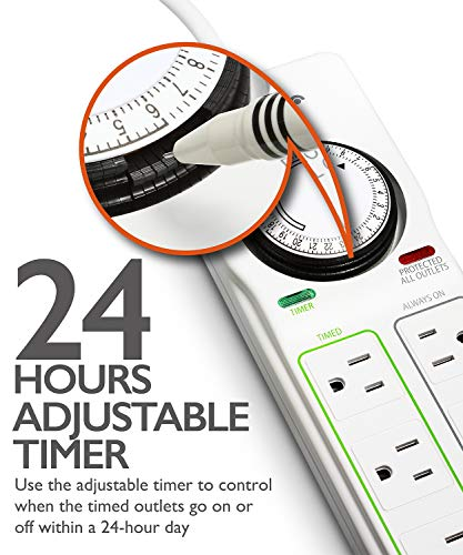 Fosmon 8-Outlet Surge Protector Timer, 24-Hours Mechanical Timer (4 Outlets Timed, 4 Outlets Always On) Power Strip Grounded Electrical Outlet for Plant Grow Lights, Reptile, Aquarium, ETL Listed