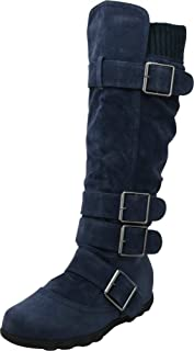 Cambridge Select Women's Buckle Sweater Knit Flat Knee-High Boot