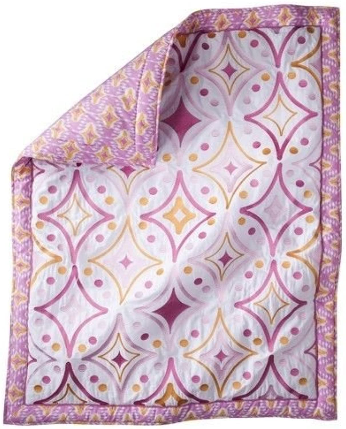MudhutTM Dawn Embroidered Crib Quilt  Pink or Teal (Pink)