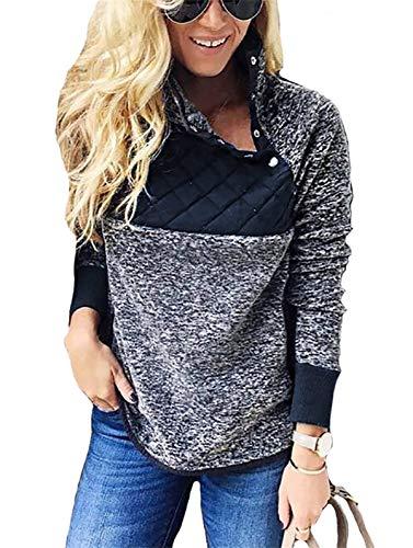 noabat Womens Sweatshirt Stand Collar Button Color Black Tops Boyfriend Blouses Blue Small