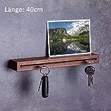 WOODS Schlüsselbrett Holz in 40cm - in Bayern handgefertigt I Schlüsselhalter Nuss - Moderne Schlüsselleiste als Board I Schlüssel-Aufhänger aus Nussholz I Nut - Schlüsselhalter modern