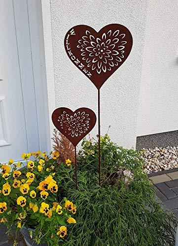 K&L Wall Art Gartenstecker Herz herzlich Herz Deko Willkommen Blumenstecker Gartendeko (Set aus 110 cm Willkommen + 75 cm Herz)