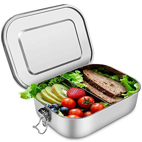 DROB Lunchbox behälter mit Fächern,Bento-Boxen aus Edelstahl mit herausnehmbaren Trennwänden, Salatdressingbehälter,Portable Food Organizer Auslaufsichere Sandwichbox für Kinder und Erwachsen