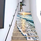 3D Stair Stickers Home Decor Living Room Restaurant, Sunrise Over Beach in Cancun, Creative DIY 3D Stairway Stickers PVC Stairs Decoration 43.3x7.08Inch13PCS/Set
