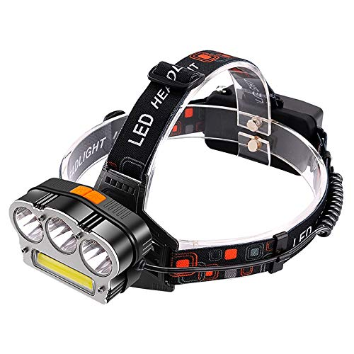 YYwl - Linterna LED de cabeza (3000 lm, 3 x XL-T6 + COB, luz roja, para caza, pesca, para exteriores, tienda de campaña, portátil