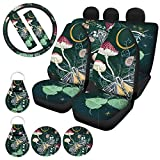 HUIACONG Mushroom Car Seat Covers Full Set for Women Girly SUV Butterfly Front Seat Back Seat Covers,Steering Wheel Cover,Seat Belt Cushion,Coasters,Keychains,Flower Car Accessories