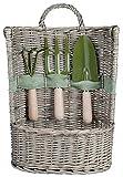 Esschert Design Gartengerätekorb, Pflanzset, Korb mit Gartengeräte, Größe L, ca. 34 cm x 20 cm x 49 cm