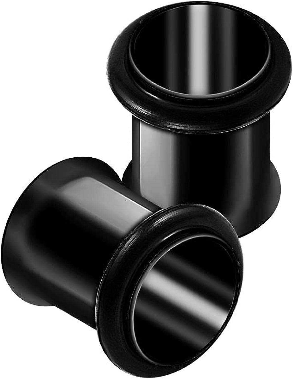 BanaVega 2PCS Surgical Steel Black Single Flared Anodized Ear Stretcher Gauge Tunnel Plug Lobe Earring Piercing Jewelry Choose Sizes