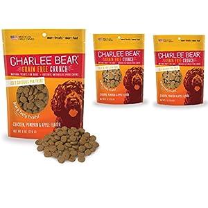 Charlee Bear Crunch Chicken, Pumpkin & Apple Flavor Dog Treat and Snack (3 Pack) 8 oz Each