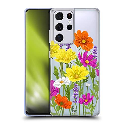 Head Case Designs Cosmos Rosen Und Wildblumen Soft Gel Handyhülle Hülle Huelle kompatibel mit Samsung Galaxy S21 Ultra 5G