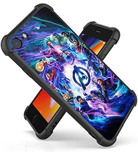 Fit for iPhone 7/8/SE 2020 Case (4.7') with 4 Corners Shockproof Protection Anime Design Customization Cases for Men and Women (04-Avengers-Infinity-MV)