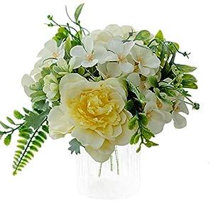 Silk Flower Arrangements Artificial Flowers,Fake Peony Camellia Silk Hydrangea Plastic Bouquet Decor Realistic Flower Arrangements Wedding Decoration Table Centerpieces 3 Packs (Yellow)