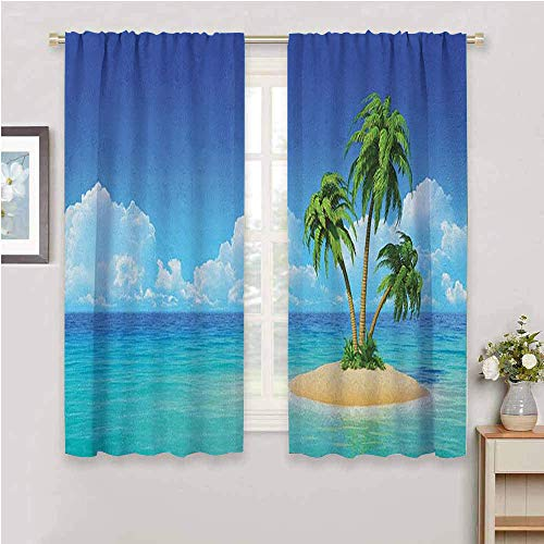 DIMICA Bedroom Decor Blackout Shades island illustration of desert island with exotic tree and skyline paradise rest Print for Window Curtains Valances turquoise cream green W63 x L45 Inch