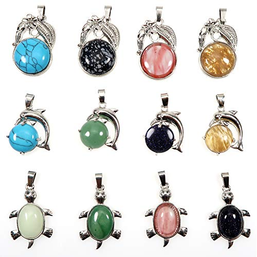 TOAOB 12 Piezas Varias Colores Forma de Tortuga y Delfín y Flor Estructura de Metal Colgante Piedra Natural de Cristal Piedras Curativo para Accesorios de Joyería