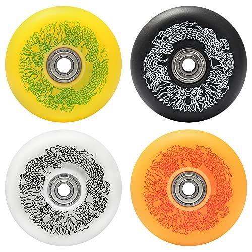 SSCYHT 8 STK. Inliner Rollen mit Kugellagern 85A Vollprofil-Rolle Drachenmuster-Design Schwarz Orange Weiß Gelb 4-Farben-Mixpack,80mm